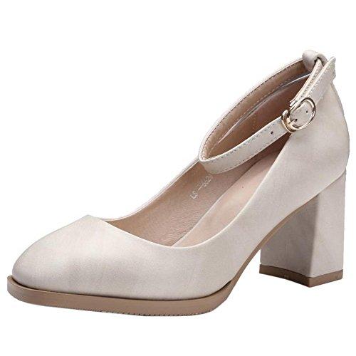 COOLCEPT Zapatos Mujer Clasico Tacon Ancho alto Vintage Al Tobillo Bombas Zapatos Beige