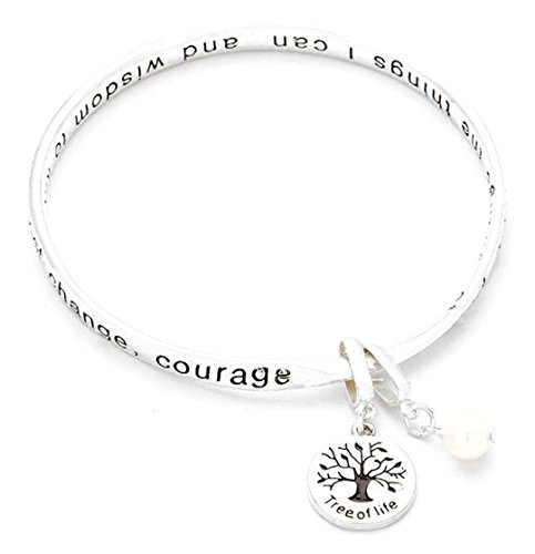 - Serenity Prayer Tree Of Life Twisted Bangle Bracelet D5 Silver Tone Faux Pearl