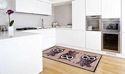 corsia stuoia tappeto cucina disegno moderno gufetti lavabile in ... - Tappeto Cucina Moderno
