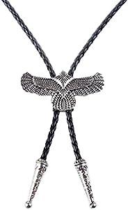 MonkeyJack Vintage Western Men's Cool Cowboy Leather Bolo Tie Bola Eagle Pendant Neck