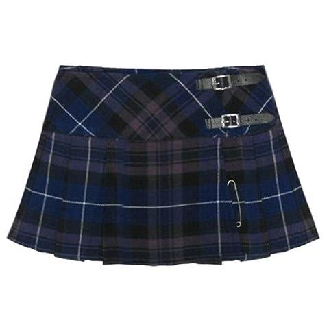 Ladies' Purple Tartan 13 Inch Pleated Mini Skirt/ Micro Mini Kilt - US 10 - Pleated Plaid Mini