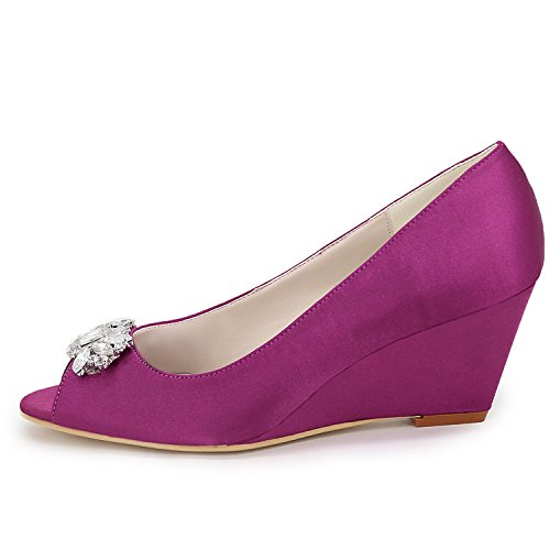 Basic 5 per Scarpe Pump Purple da Summer Elobaby Sposa Sandals Cm per Primavera Chunky Tacco Donna Crystal Toe 6 Peep Seta xqYdBBTtw