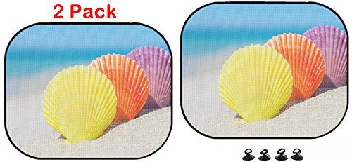 Luxlady Car Sun Shade Protector Block Damaging UV Rays Sunlight Heat for All Vehicles, 2 Pack Image ID: 32072394 Three Colorful Scallop Seashells on Sandy Tropical Ocean beac