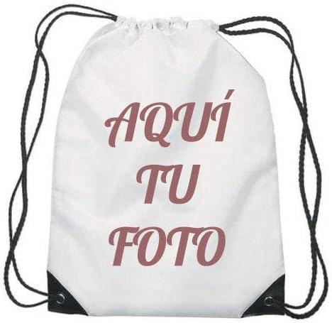 Mochila Saco Personalizada con Foto (Blanca): Amazon.es: Equipaje