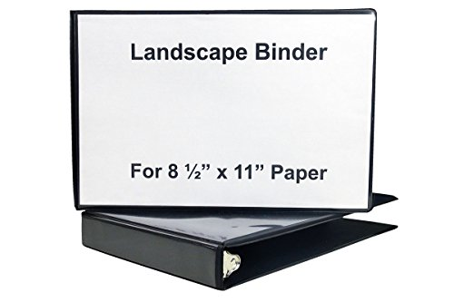 "1 1/2"" Heavy Duty Landscape Binder - Black vinyl - Holds text in horizontal format - Overlay inserts for the front, spine and back with inside pockets - Great for engineering drawings, etc (Ring Vinyl Binder Overlay)"