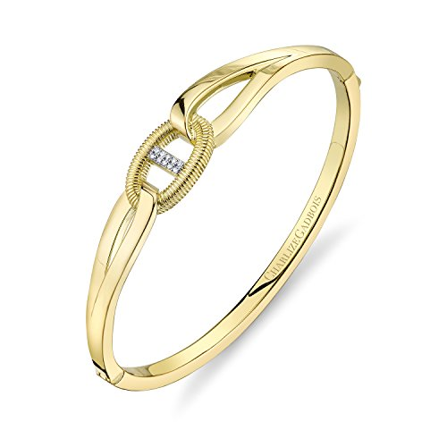 CHARLIZE GADBOIS 925 Sterling Silver Diamond Center Buckle Cuff Bangle Bracelet, Yellow Gold Plated by Gadbois Jewelry