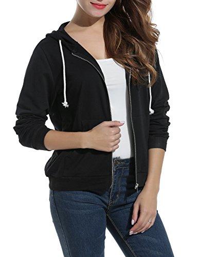[해외]Meaneor 여성용 긴 소매 캐주얼 지퍼 업 까마귀 자켓 라이트 웨이트 셔츠/Meaneor Women`s Long Sleeve Casual Zip-Up Hoodie Jacket Lightweight Sweatshir