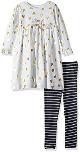 Gerber Girls' Dress and Legging Set, Heather Hearts, 4T