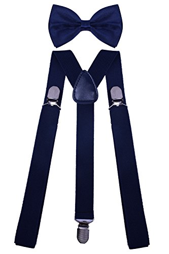 WDSKY Leather Suspenders Mens Navy Y Suspenders with Bowtie for Men Navy Solid (Toddler Blue Tuxedo)