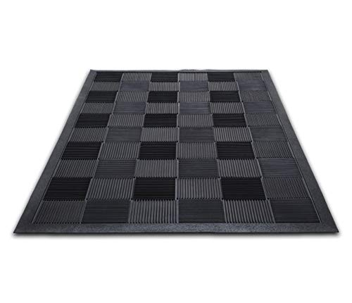 Parquet Wiper Scraper Outdoor Floor Mat, Rubber, 3x5 ft, Black, Removes Dirt and Handles Multi-direction Traffic