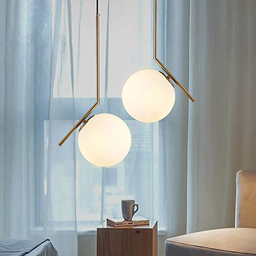 SH Home Lighting Simple Living Room Creative Glass Ball Chandelier Bed bar Table Bedroom Light Luxury Chandelier Brass with Frosted Glass Ball