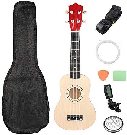 ギター、 キャリングバッグ学生子供ビギナー小型ギター21インチBurlywoodソプラノウクレレウクレレ・ハワイアンギター12フレット付きストラップ バランスのとれた強力な音声 (Color : As shown, Size : 21inch)
