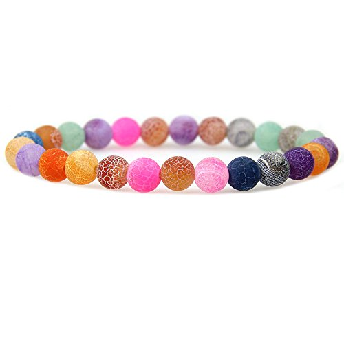 Agate Crystal Multi Color - Natural Multicolor Weathered Agate Gemstone 8mm Round Beads Stretch Bracelet 7