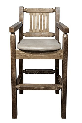 Montana Woodworks MWHCBSWCASSLBUCK Homestead Collection Captain's Barstool, Stain & Lacquer Finish with Upholstered Seat, Buckskin Pattern