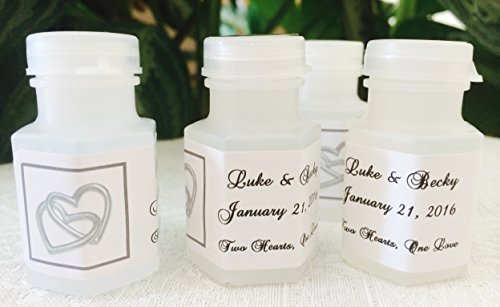 300 DOUBLE SILVER HEARTS Theme PERSONALIZED BUBBLE LABELS/STICKERS