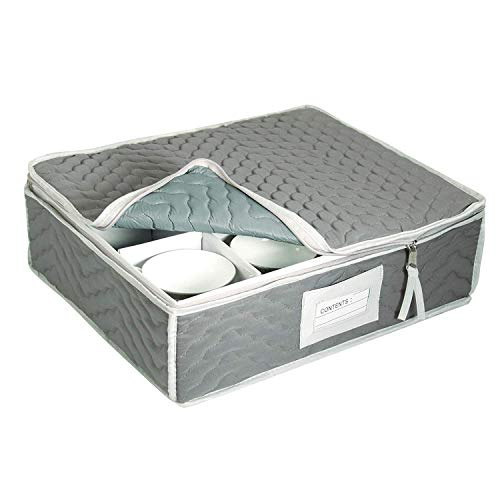 (China Cup Storage Chest - Deluxe Quilted Microfiber (Light Gray) (13
