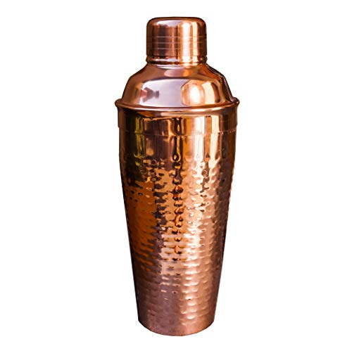 (BREKX Hammered Copper Plated Cocktail Shaker - Home Barware Essentials - 24 Ounce)