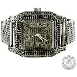 Techno Pave Watch Mens Black Lab Diamond Brand New Unique Style