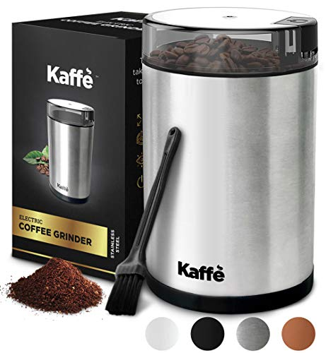 Kaffe Electric Coffee Grinder – Stainless Steel – 3oz Capacity with Easy On/Off Button. Cleaning Brush Included. Grind…