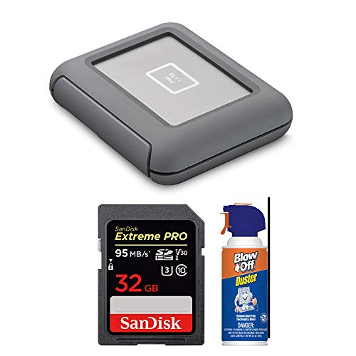 LaCie DJI Copilot BOSS 2TB Portable Hard Drive + SanDisk Extreme PRO 32GB SD Memory Card + Max Professional Blow Off Air Duster Cleaner (3.5oz) Bundle