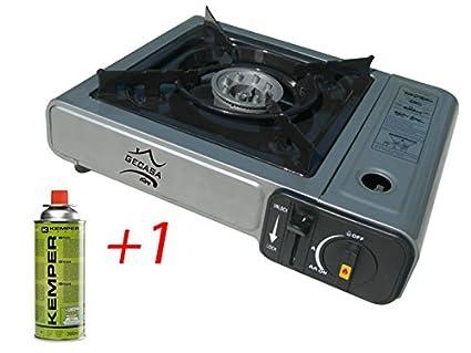 Hornillo de gas/camping eléctrica, doble conector, Butano LPG
