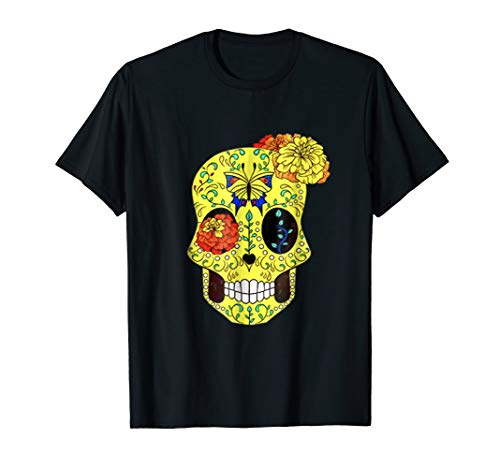 Colorful Flower Sugar Skull Day Of The Dead Costum Shirt ()