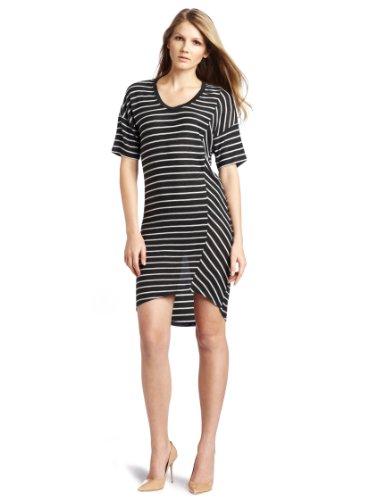 C&C California Women's Asymmetrical Hem Stripe Tee Dress
