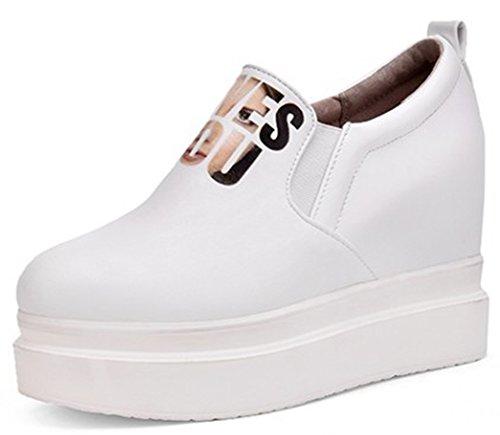IDIFU Women's Fashion Hidden Wedge High Heels Platform Sneakers Slip On Loafers Shoes White 9.5 B(M) US