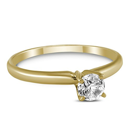 (1/4 Carat Round Diamond Solitaire Ring in 14K Yellow Gold)