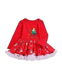 Baby Girls My Christmas Tutu Dress, Vinjeely Long Sleeve Red Christmas Party Dress