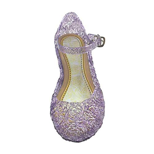 Youc-us Children's Princess Shoes Cinderella Baby Girls Soft Crystal Plastic Shoes (Toddler/Little Kid) Cosplay Jelly Shoes Purple -