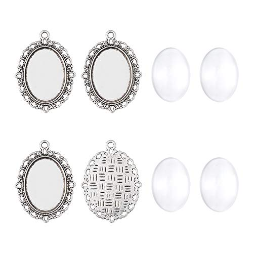 Pandahall 10Sets Tray:25x18mm Antique Silver Oval Alloy Tiebetan Style Pendants Cabochons Bezel Blank Setting Cover with Transparent Oval Glass Cabochons Magnify Cadmium Free & Lead Free