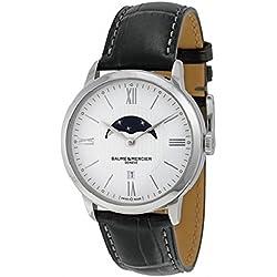 Baume et Mercier Classima White Dial Moonphase Black Leather Mens Watch 10219