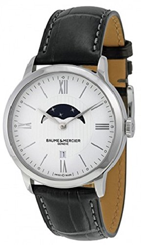 Baume et Mercier Classima White Dial Moonphase Black Leather Mens Watch 10219