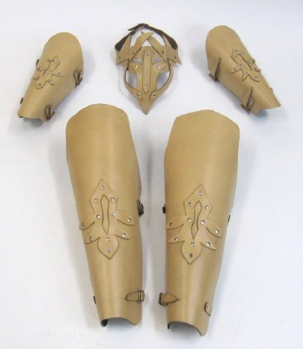 Set of Leather Bracers and Shin Guards - Light Brown Leather by ITDC