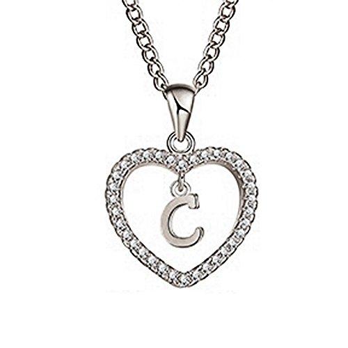 Wintefei Concise Hollowed Heart Alphabet Unisex Necklace Jewelry Neck Chain Pendant Decor - Silver ()