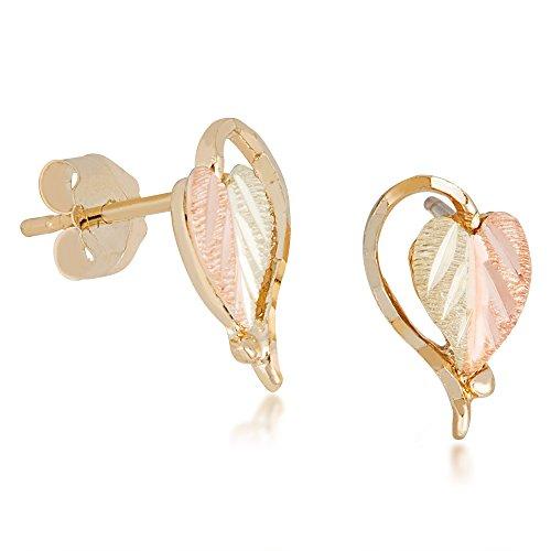 Split Leaf 10k Heart Earrings from Landstroms Black Hills Gold - Earrings Hills Heart Gold Black