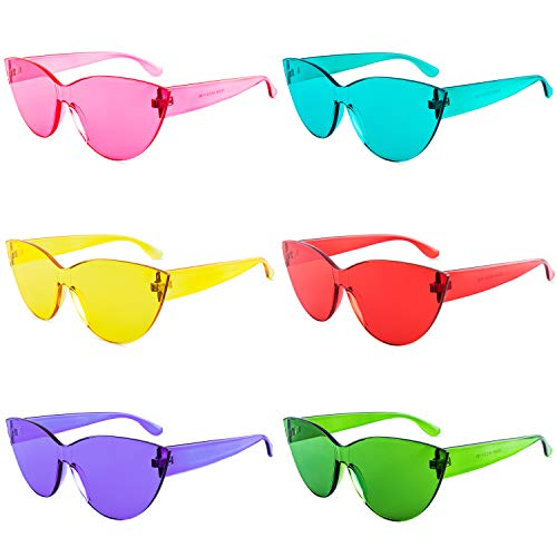 Colorful One Piece Rimless Transparent Cat Eye Sunglasses for Women Tinted Candy Colored Glasses (#H3099-6 ()