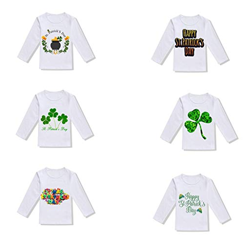 Jshuang (18M-6Y) Unisex Toddler Baby Irish National Day St.Patrick's Clover Print Long Sleeve T Shirt Tops Blouse ()