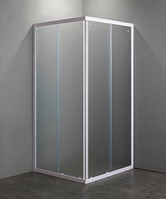 Mampara de ducha Cristal Mate templado 4 mm de abertura corredera , 2 lados, Perfiles Bianchi, 75 x 75 cm, Altura 185 cm: Amazon.es: Hogar