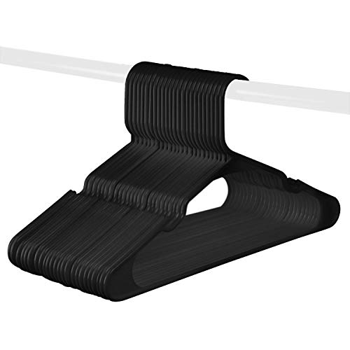 Black Standard Plastic Hangers, Notched, Set of 24 Durable and Slim, Notched, Made in The USA (Black, 24 Pack)