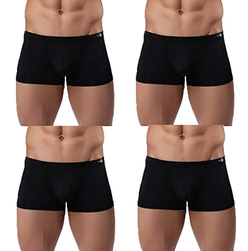Gudan Mens Boxer Briefs Pack of 4 Sexy Silk Underwear Short Leg Black Size M