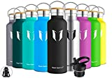 Super Sparrow Stainless Steel Vacuum Insulated Water Bottle, Double Wall Design,Standard Mouth - 500ml & 750ml & 1000ml - BPA Free - with 2 Exchangeable Caps + Bottle Pouch