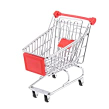 Red Mini Shopping Cart Supermarket Handcart Trolley with Seat Rolling Wheels Kids Children Pretend Play Toy Size M