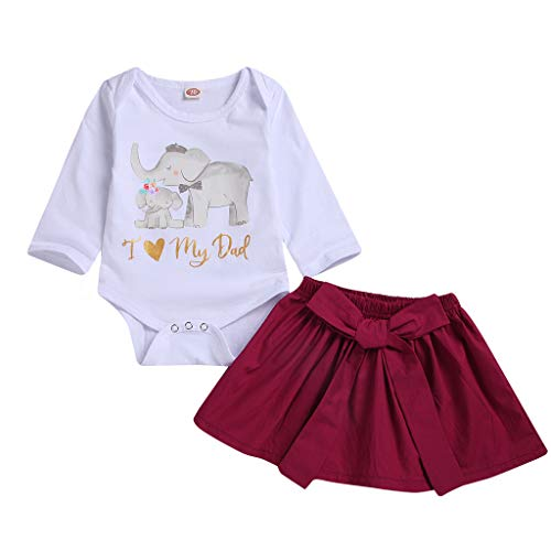 Kehen Infant Baby Toddler Girl Spring Outfit I Love My Dad Cotton Romper with Mini Skirt 2pc Wine 12-18 Months