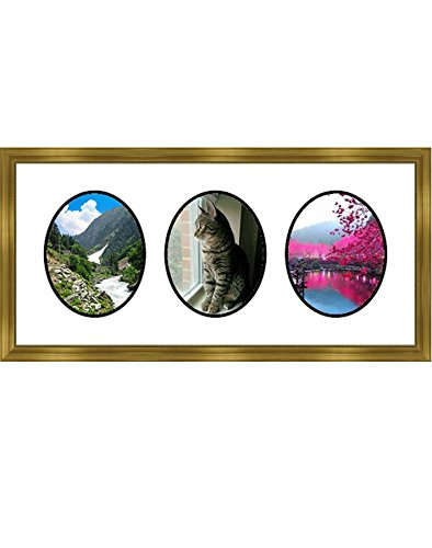 Frames By Mail multimat-58813-434b Triple Oval Opening Collage Frame for 8