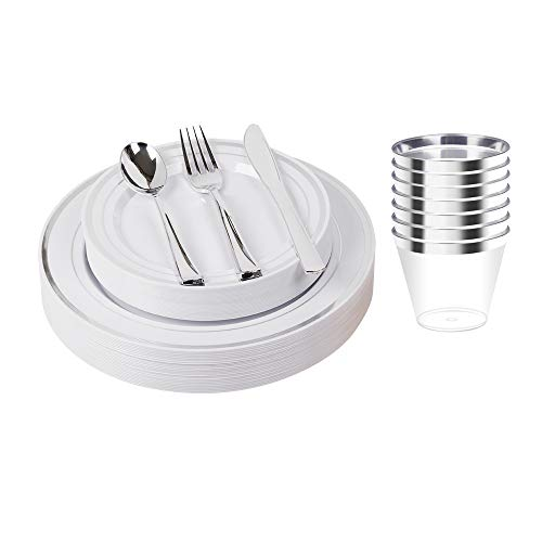 150pcs/25 set Silver Heavyweight Disposable Plastic Plates & Cutlery Set/Wedding Dinnerware set/Party Tableware Set Including 9oz Cups, 10.25