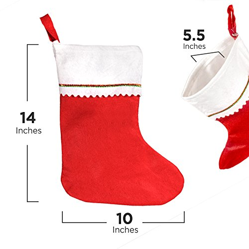 Windy City Novelties Tall 15 Red Felt Christmas Holiday Stockings (12 Pack)