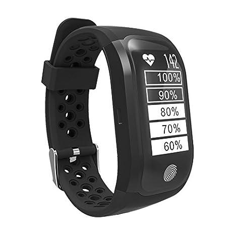 ... con Monitor de frecuencia Cardiaca en la muñeca, Monitor de Actividad,Sumergible y notificaciones Inteligentes, Color Negro: Amazon.es: Relojes