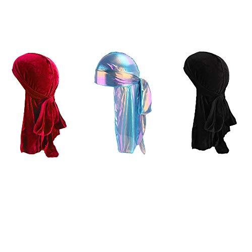 Naiflowers Unisex Men Women's Fashion Elegant Velvet Bandana Hat Durag Rag Tail Headwrap Headwear (Red+Black+L)